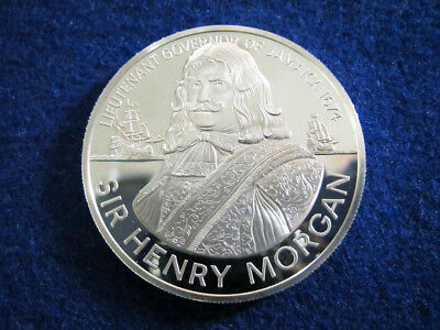 Sir Henry Morgan Gem Silver Proof 10 Dollars - 1974 Jamaica - Free U S Shipping