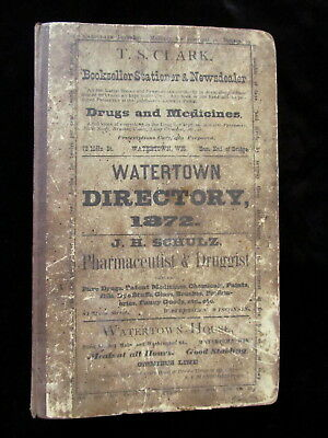 RARE 1872 Watertown Wisconsin City Directory Brewery Distiller Harness Maker