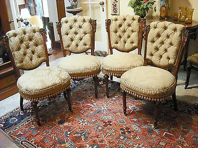 Matched set of 4 Victorian Pottier&Stymus R'wood/gilded chairs w/ bronze mounts