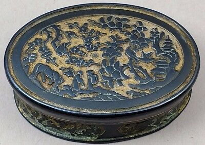 18Th Century Antique Old Chinese Gilt Bronze Snuff Incense Paste Box Qing Kangxi