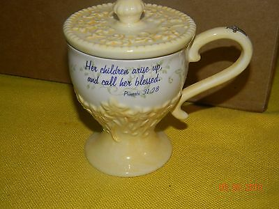 Michel & Company Lidded tea cup Proverbs 31:28