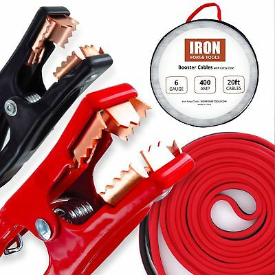 20 Foot Jumper Cables with Carry Bag - 6 Gauge, 400 AMP Booster Cable Kit