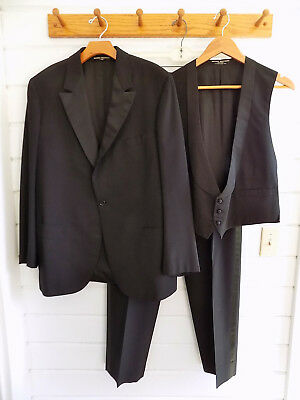 VINTAGE BROOKS BROTHERS 3 PIECE TUXEDO single button notch collar - 44R