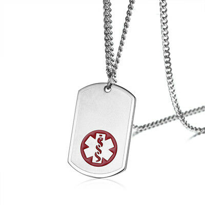 Custom Necklace Medical Alert ID Dog Tag Pendant Stainless Steel Free Engraving
