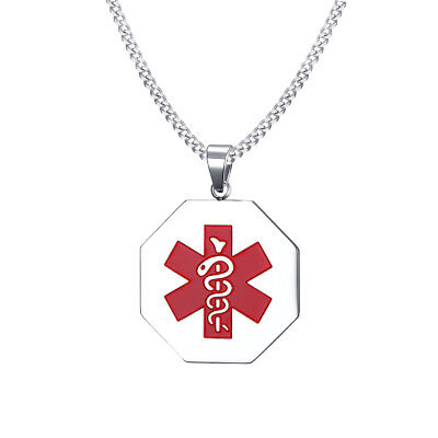 Fashion Men Medical Alert ID Tag Necklace Pendant Stainless Steel Free Engraving