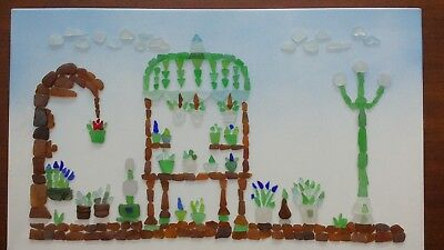 "BEACH GLASS ORIGINAL ART - ""FLOWER MARKET"" - ONE OF A KIND - 20 x 12"