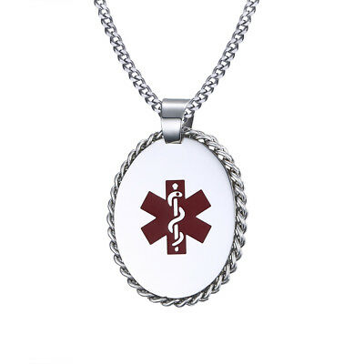 Oval Medical Alert ID Dog Tag Necklace Pendant Stainless Steel Free Engraving