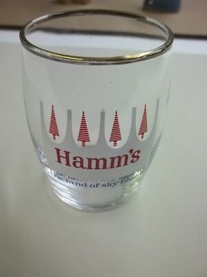 RARE Vintage Libbey Hamms Beer Glass With Red Trees From Land Of Sky Blue Waters