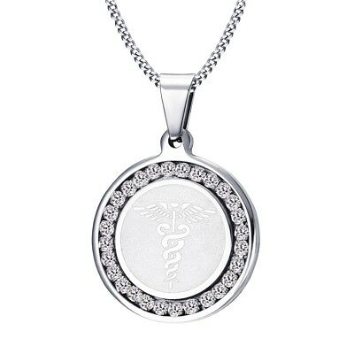 Silver Medical Alert ID Tag Necklace Pendant Stainless Steel Chain Free Shipping