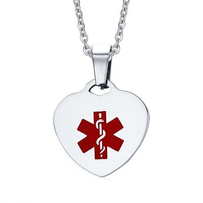 Women Heart Medical Alert ID Tag Necklace Stainless Steel Pendant Free Engraving
