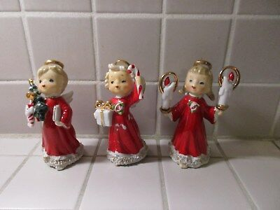 """3 Unusual Lefton Christmas Angels with """"spaghetti"""" trim - """"gold"""" haloes"""