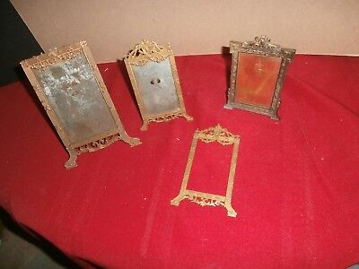 3 Antique Ornate Victorian Stand Up Easel Picture Photo Metal Frame Depose Paris