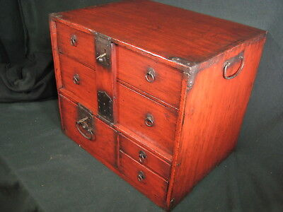 Japanese Meiji Era Antique 160 Yr Old Red Lacquer Bow-Dansu Personal Tansu Chest