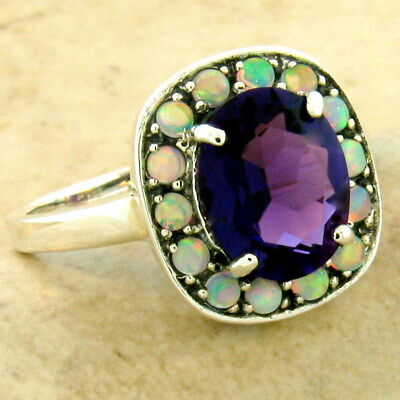 2.5 Ct Art Deco 925 Silver Lab Amethyst Opal Antique Style Ring Size 7,    #1086