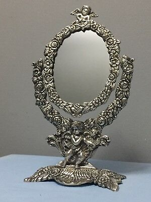 Antique Victorian Cherub Cupid Floral Silver-plated Swivel Vanity Table Mirror