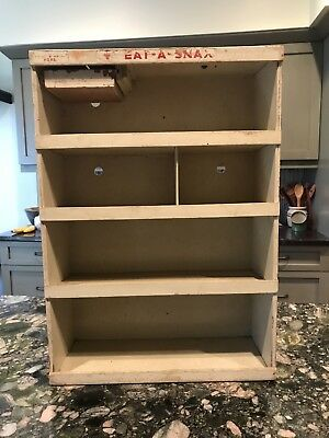 Vintage Toms Eat A Snax Display Shelf With Honor System Self-Pay Coin Slot -Wood