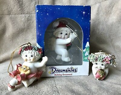 Dreamsicles Christmas Ornaments Lot Of 3 Cherubs Angels 1 in Box