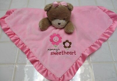 EUC, Child Of Mine Pink Bear Mommy's Sweetheart Security Blanket Lovey Satin