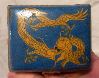 Antique Chinese Asian Oriental Cloisone Cloisonne Box Jewelry Trinket Old China