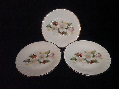 Royal Sutherland Fine Bone China Set Of 3 Saucers Holly & Wood Anemone Design