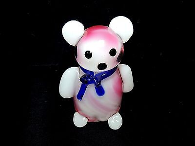 Rare Multicolored Murano Hand-Blown Bear Art Glass Figurine