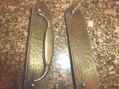 Vintage Solid Brass Door Pull Handle With 2 Backplates Antique Hammered