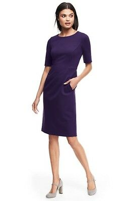3730d0dd581 LANDS END WOMEN S Elbow Sleeve Ponte Sheath Dress Blackberry New ...