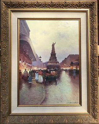 Paris Street Scene by Listed Vasily Gribennikov oil like Cortes Laloue 27.5X19.5