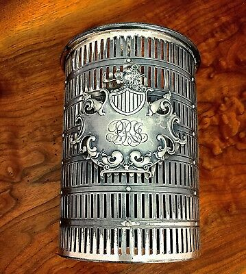 Meriden Silverplate Wine Bottle Holder with Heraldic Shield and Script Monogram
