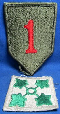 WWII 1st Infantry Division The Big Red One & 4th Army Division DI Unit Patches