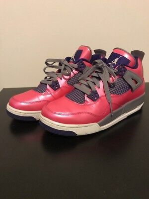 AIR JORDAN Size 7Y Girls RETRO 4 Pink and Purple High Top Sneakers