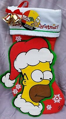 "The Simpsons HOMER CHRISTMAS HOLIDAY STOCKING W BELLS 18"" MINT Kurt Adler 2004"