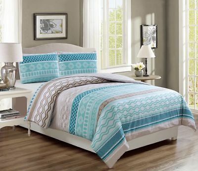 Estero Teal/Taupe Reversible Comforter Set