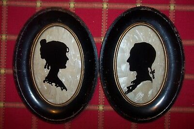Pair Of Vintage Black  Silhouette Oval Wall Decor,w/pearl Inset