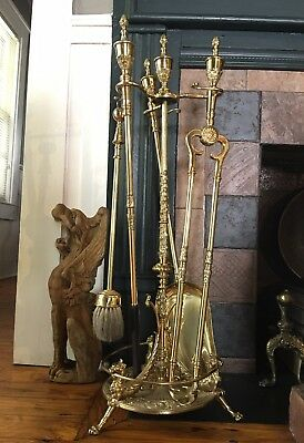 Antique English Polished Brass Fire Fireplace Tools & Stand, Urn. Finial. Lions