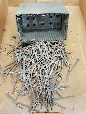 LOT antique 350+ IRON SQUARE NAILS early w METAL TOOL BOX CADDY hardware tools