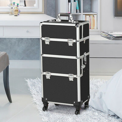 Black Rolling Makeup Case Aluminum Hair Stylist Trolley 2 Wheel Box Organizer