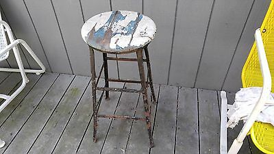 Vintage Black Metal Frame Sitting Stool Wood Seat Primitive 28 in Plant Stand