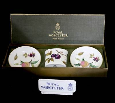Vintage Royal Worcester Arden boxed set of toothpick holder & two pin dishes