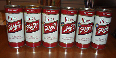 6 pack of old SCHLITZ 1954 PINT BEER CANS Milwaukee Wisconsin air sealed 16 oz
