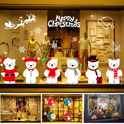 Christmas Snowman Elk Santa Claus Shop Glass Display Window Wall Xmas Stickers