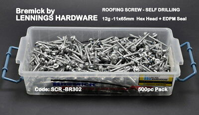 ROOFING SCREW - 12g-11x65mm - HEX HEAD+SEAL - 500pc PACK  (BR302x500pc)