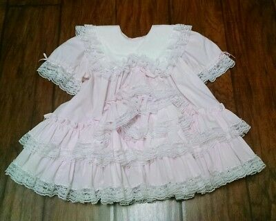 Vintage Baby Girls Party Dress 3t Ruffled Pink Twirl Beautiful! Lilo Christmas