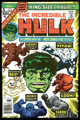 HULK ANNUAL 5 9.4 NEAR MINT 1976 MARVEL 2nd GROOT ever CLAIRMONT WP HIGH GRADE