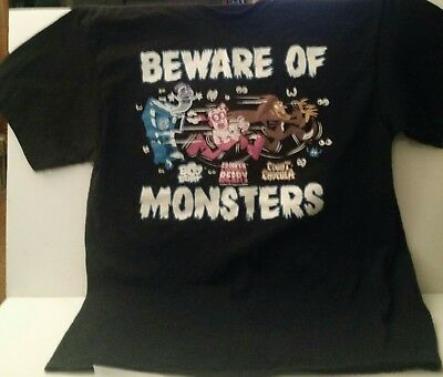 BEWARE OF MONSTERS Count Chocula, Boo Berry & Franken Berry T-Shirt Size XL