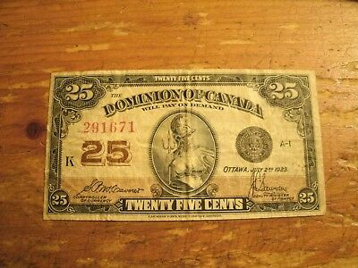1923 Twenty Five Cents The Dominion Of Canada Note