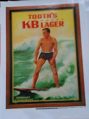 Tooths KB beer poster vintage surfing theme