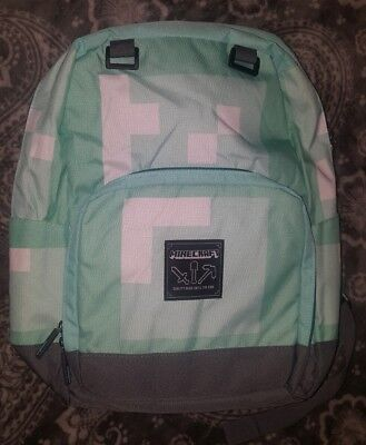 "NEW 17"" Minecraft Backpack School Bag Large Diamond Blue Miner Block Turquoise"