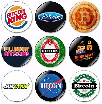 9 x Bitcoin 32mm BUTTON PIN BADGES Coin Digital Currency System Payment Ledger