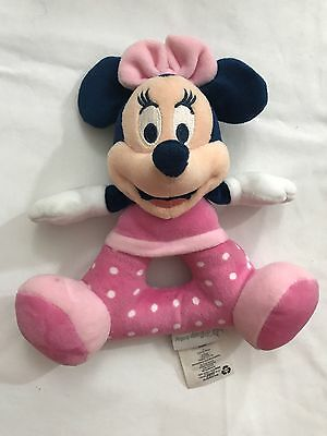 """Disney Store Authentic Minnie Mouse Soft Plush Rattle for Baby Soft Toy 7"""""""
